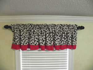 Window Valance - Baseballs with Red