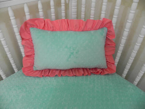 Mint Minky Dot and Coral Accent Pillow