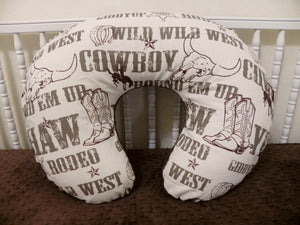Cowboy with Brown Minky Dot Nursing Pillow Cover