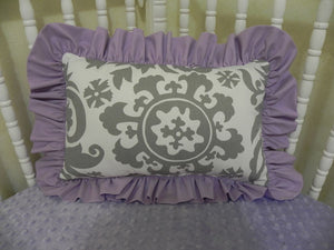 Gray Suzani and Lavender Accent Pillow