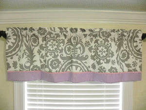 Window Valance- Gray Suzani Damask with Lavender and Light Pink