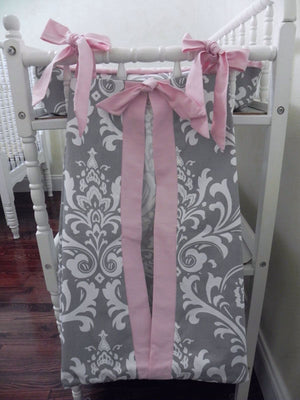 Diaper Stacker - Gray Damask and Light Pink