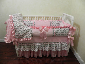 Pink and Gray Custom Crib Bedding Set Angelica - Girl Baby Bedding, Crib Bumpers