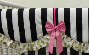 Black, Gold, and Hot Pink Girl Crib Bedding Set Valentina - Girl Baby Bedding, Scalloped Rail Cover, Tiered Crib Skirt