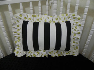 Black and White Stripes with Gold Dots Accent Pillow
