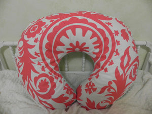 Coral Suzani Nursing Pillow Cover