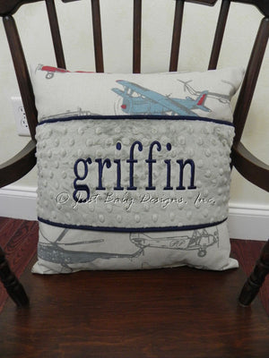 Vintage Airplane with Gray Specialty Pillow