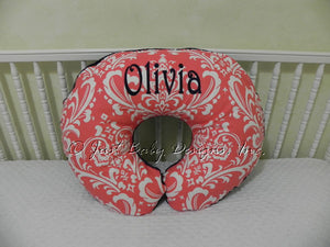 Coral Damask Nursing Pillow Cover