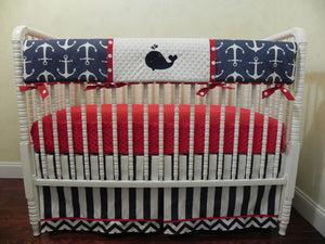 Nautical Boy Bedding Set Gilbert - Whales and Anchors in Navy and Red, Boy Crib Bedding, Crib Rail Cover Set