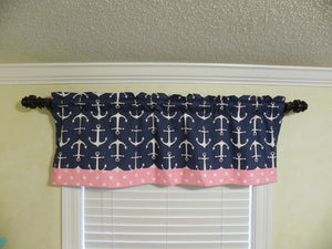Window Valance - Navy Anchors with Medium Pink Polka Dots
