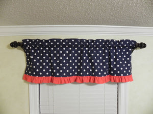 Window Valance- Navy Polka Dots with Coral Ruffle