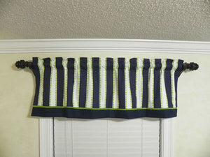 Window Valance- Navy Stripes with Lime