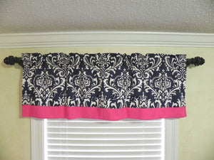 Window Valance - Navy Damask with Hot Pink