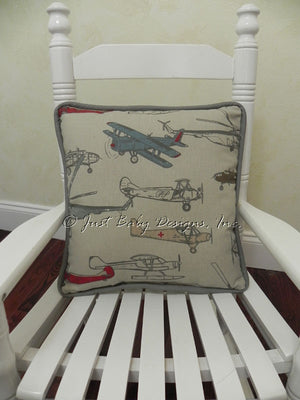 Vintage Airplane with Gray Accent Pillow