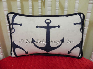 Navy Anchor Accent Pillow