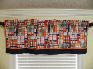 Window Valance- Coastal Plaid with Navy and Orange