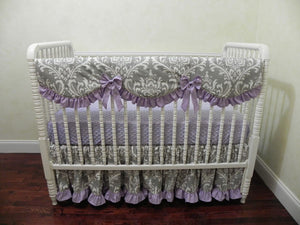 Lavender and Gray Girl Baby Bedding Set Alaina - Girl Crib Bedding, Crib Rail Cover