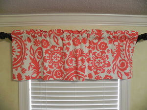 Window Valance -Coral Suzani Damask