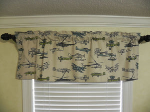 Window Valance - Vintage Airplane Navy