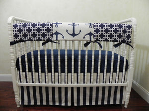 Nautical Baby Bedding Set Jonah - Navy Anchor Baby Bedding, Boy Crib Bedding, Crib Rail Cover Set