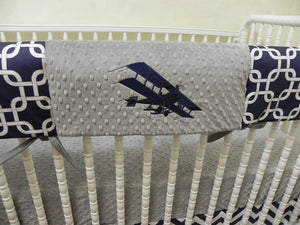 Airplane Crib Bedding Set - Boy Baby Bedding, Navy and Gray Airplane Baby Bedding