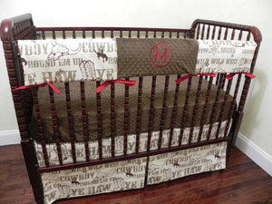 Cowboy Baby Bedding Set Mathis - Western Crib Bedding, Boy Baby Bedding, Crib Rail Cover Set