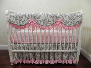 Gray and Pink Girl Baby Bedding Set Brooke in Pink - Girl Crib Bedding, Crib Rail Cover