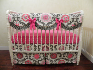 2 piece Rosetta Crib Bedding Set - Scalloped Rail Guard and Crib Skirt