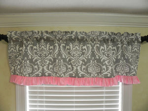 Window Valance- Gray Damask with Light Pink Ruffle