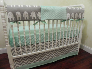 Elephant Crib Bedding Set Brevyn- Gender Neutral Baby Bedding in Gray and Mint