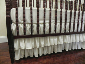 Ivory Girl Crib Bedding Set Victoria - Girl Baby Bedding, Scalloped Rail Cover, Tiered Crib Skirt