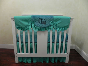Teal Girl Mini Crib Bedding Set - Girl Mini Crib Baby Bedding,  Mini Crib Bedding