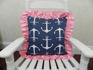 Navy Anchor with Pink Dots Accent Pillow
