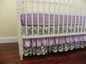 Gray Damask and Lavender Girl Baby Bedding Set Macy - Girl Crib Bedding, Crib Rail Cover with Ruffled Skirt