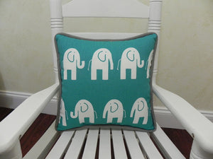 Teal Elephants with Gray Accent Pillow