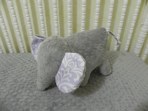 Snuggle Pal Elephant- Gray with Lavender Damask