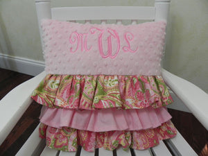 Light Pink with Paisley Print Ruffled Specialty Pillow
