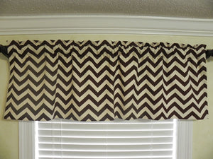 Window Valance - Brown Chevron