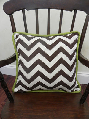 Brown Chevron with Olive Green Accent Pillow