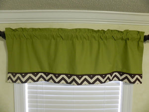Window Valance- Brown Chevron with Olive Green