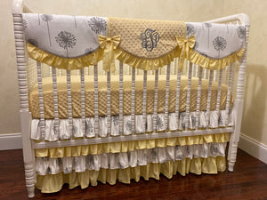 Yellow and Gray Girl Baby Bedding Set Adalys Yellow - Girl Crib Bedding, Crib Rail Cover with Ruffled Skirt
