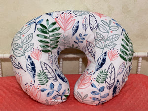 Modern Leaves and Blossoms Minky Nursing Pillow Cover in Coral, Navy, and Green