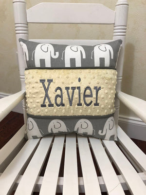 Gray Elephants with Light Yellow Specialty Pillow