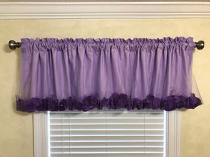 Window Valance-  Lavender Tulle Overlay Princess Valance with Rose Petals