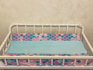 Changing Pad Cover - Mermaid Tile with Aqua Minky