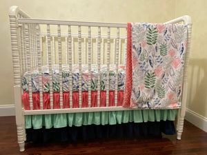 Girl Crib Bedding Set - Blossoms and Leaves in Coral, Navy, and Mint