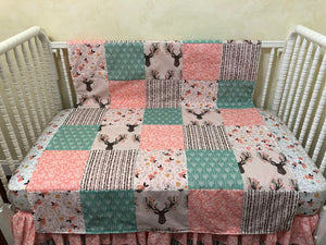 Baby Girl Woodland Deer Patchwork Baby Blanket in Coral and Mint
