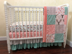 Woodland Girl Crib Bedding Set Chelsea, Girl Baby Bedding, Coral and Mint Woodland Baby Bedding