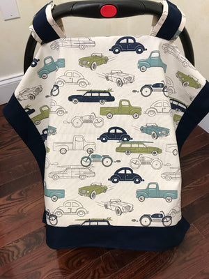 Car Seat Cover - Vintage Cars and Trucks with Navy