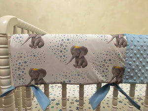 Baby Boy Elephant & Stars Crib Bedding- Boy Elephant Baby Bedding in Light Blue and Gray